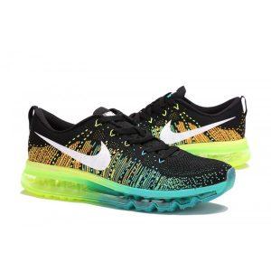 евтини nike air max 2014 дамски обувки за бягане черно зелено флуоресцентно жълто продажба