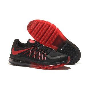 евтини nike air max 2015 мъжки обувки за бягане черно червено продажба
