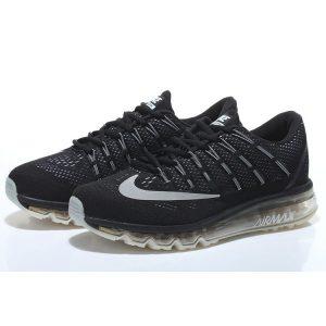 евтини nike air max 2016 мъжки обувки за бягане черни сребърни аутлет
