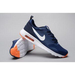 евтини nike air max thea print 2 мъжки обувки за бягане тъмно синьо оранжево за продажба