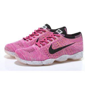 евтини nike air zoom fit agility flyknit дамски обувки за бягане черно бяло розово за продажба