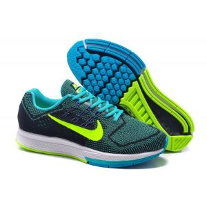 евтини nike air zoom structure 18 дамски обувки за бягане черно синьо флуоресцентно зелено продажба