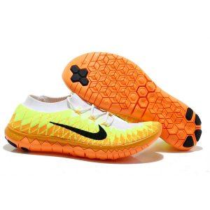 евтини nike free 3.0 flyknit мъжки обувки за бягане бяло флуоресцентно жълто оранжево аутлет
