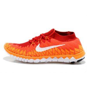 евтини nike free 3.0 flyknit мъжки обувки за бягане бяло червено оранжево на едро