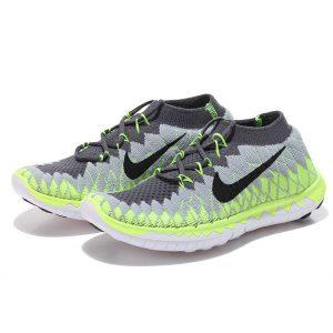 евтини nike free 3.0 flyknit дамски обувки за бягане сиво флуоресцентно жълто навън