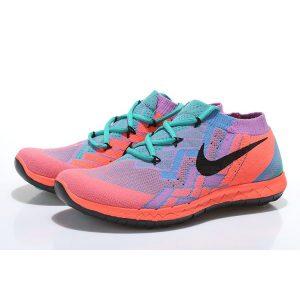 евтини nike free 3.0 flyknit дамски обувки за бягане прасковено зелено синьо за продажба