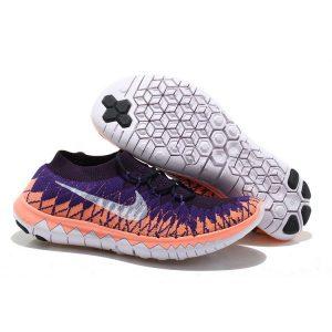 евтини nike free 3.0 flyknit дамски обувки за бягане лилаво оранжево бяло outlet