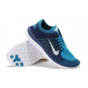 евтини nike free 4.0 flyknit мъжки обувки за бягане синьо черно флуоресцентно жълто на пазара