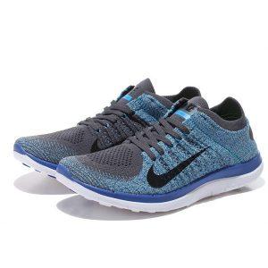 евтини nike free 4.0 flyknit мъжки обувки за бягане тъмно сиво синьо за продажба