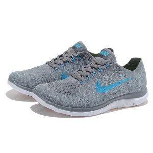 евтини nike free 4.0 flyknit мъжки обувки за бягане сиво синьо за продажба