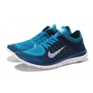 евтини nike free 4.0 flyknit дамски обувки за бягане черно синьо флуоресцентно жълто за продажба
