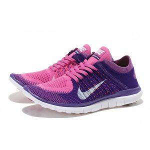 евтини nike free 4.0 flyknit дамски обувки за бягане розово лилаво за продажба