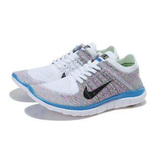 евтини nike free 4.0 flyknit женски обувки за бягане бяло синьо цветове outlet