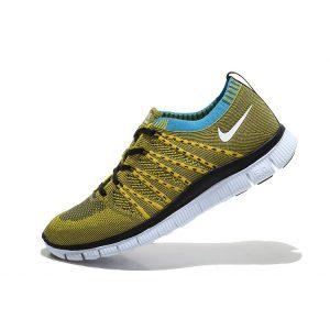 евтини nike free 5.0 flyknit мъжки обувки за бягане черно сиво жълто за продажба