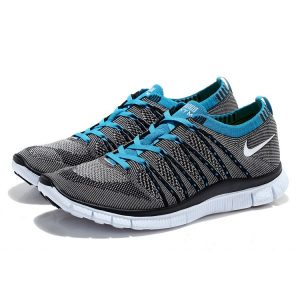 евтини nike free 5.0 flyknit мъжки обувки за бягане синьо сиво на едро