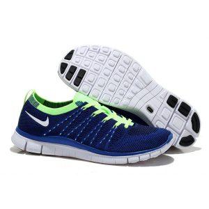 евтини nike free 5.0 flyknit мъжки обувки за бягане синьо зелено за продажба