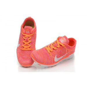 евтини nike free 5.0 flyknit дамски обувки за бягане оранжево бяло за продажба