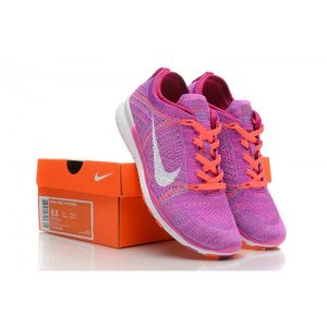 евтини nike free 5.0 flyknit дамски обувки за бягане лилаво оранжево бяло за продажба
