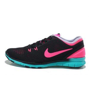 евтини nike free 5.0 v2 тренировъчни дамски обувки за бягане черно прасковено синьо навън