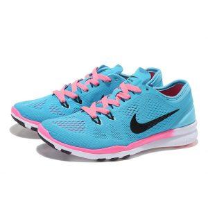 евтини nike free 5.0 v2 тренировъчни женски обувки за бягане синьо черно розово за продажба