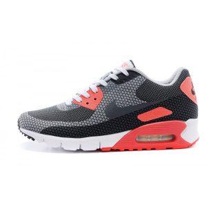 nike air max 90 мъжки обувки за бягане черно червено сиво аутлет