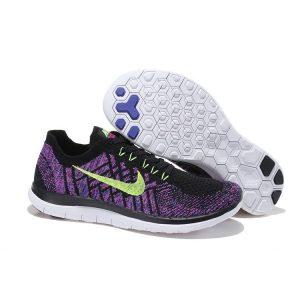 nike free 4.0 flyknit дамски обувки за бягане черни лилави разпродажба