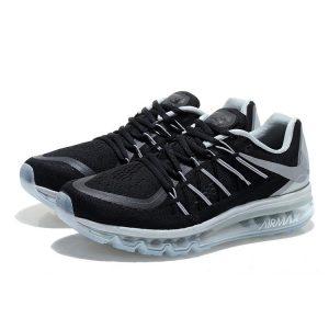 на едро nike air max 2015 мъжки обувки за бягане черни сребърни