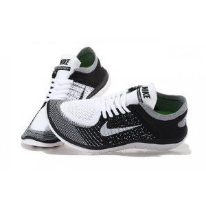 на едро nike free 4.0 flyknit дамски обувки за бягане черно бяло