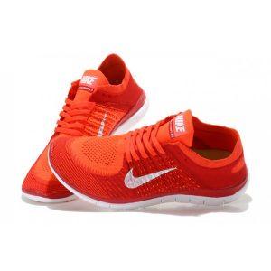 на едро nike free 4.0 flyknit дамски обувки за бягане червено оранжево бяло