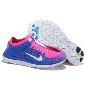 на едро nike free 4.0 flyknit женски обувки за бягане кралско синьо розово