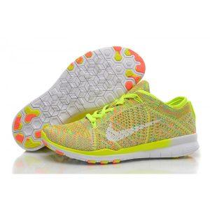 на едро nike free 5.0 flyknit дамски обувки за бягане флуоресцентно зелено бяло