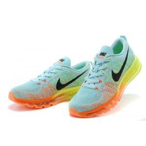 Wohlesale nike air max 2014 женски обувки за бягане светло синьо оранжево флуоресцентно зелено